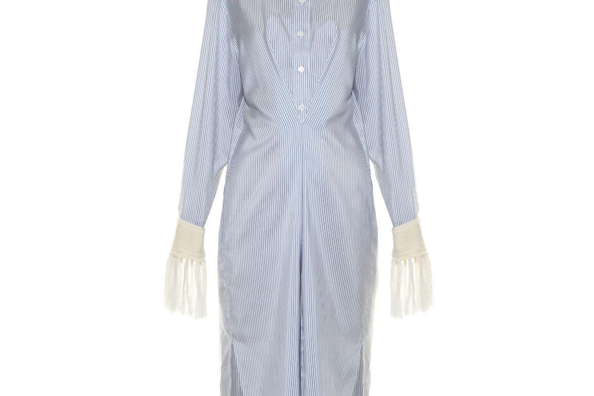 Fringed-Cuff Striped Midi Shirtdress
