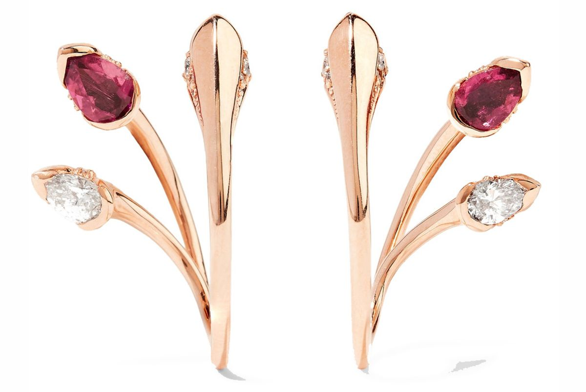 Sepals Hoops 18-Karat Rose Gold, Tourmaline and Diamond Earrings