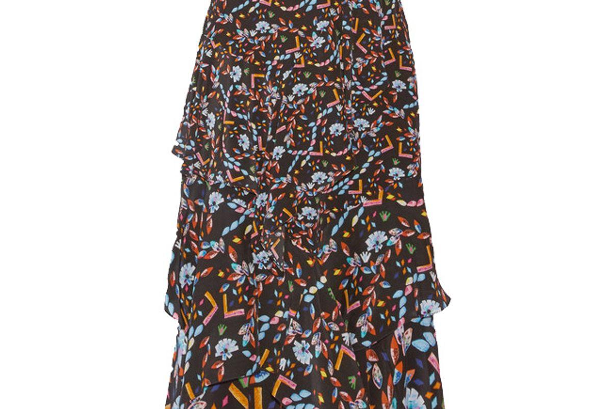 Tiered Printed Silk Midi Skirt
