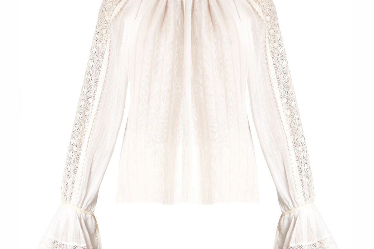 Lace-Insert Bell-Sleeved Cotton Blouse
