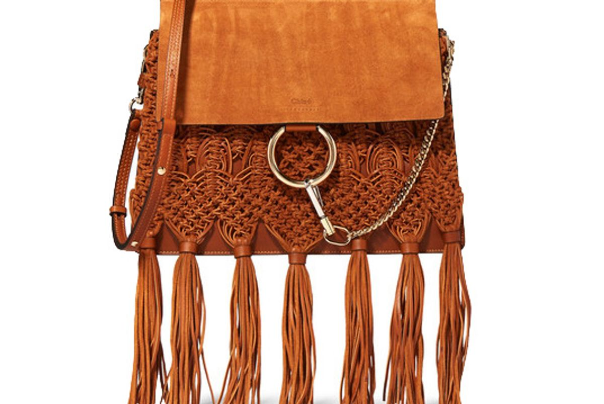 Faye Medium Braided Leather and Suede Shoulder Bag