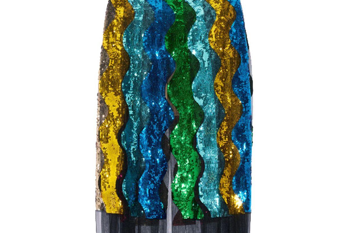 Pleated Sequined Tulle Midi Skirt