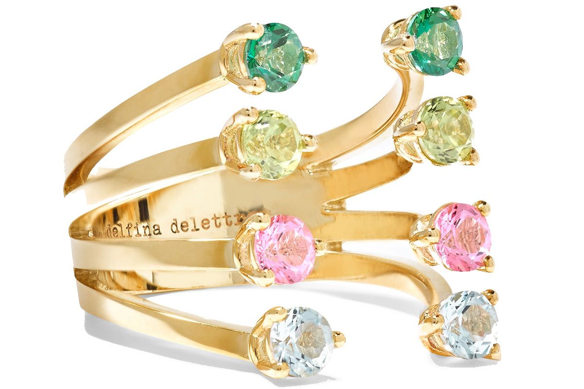 9-Karat Gold, Topaz and Peridot Ring