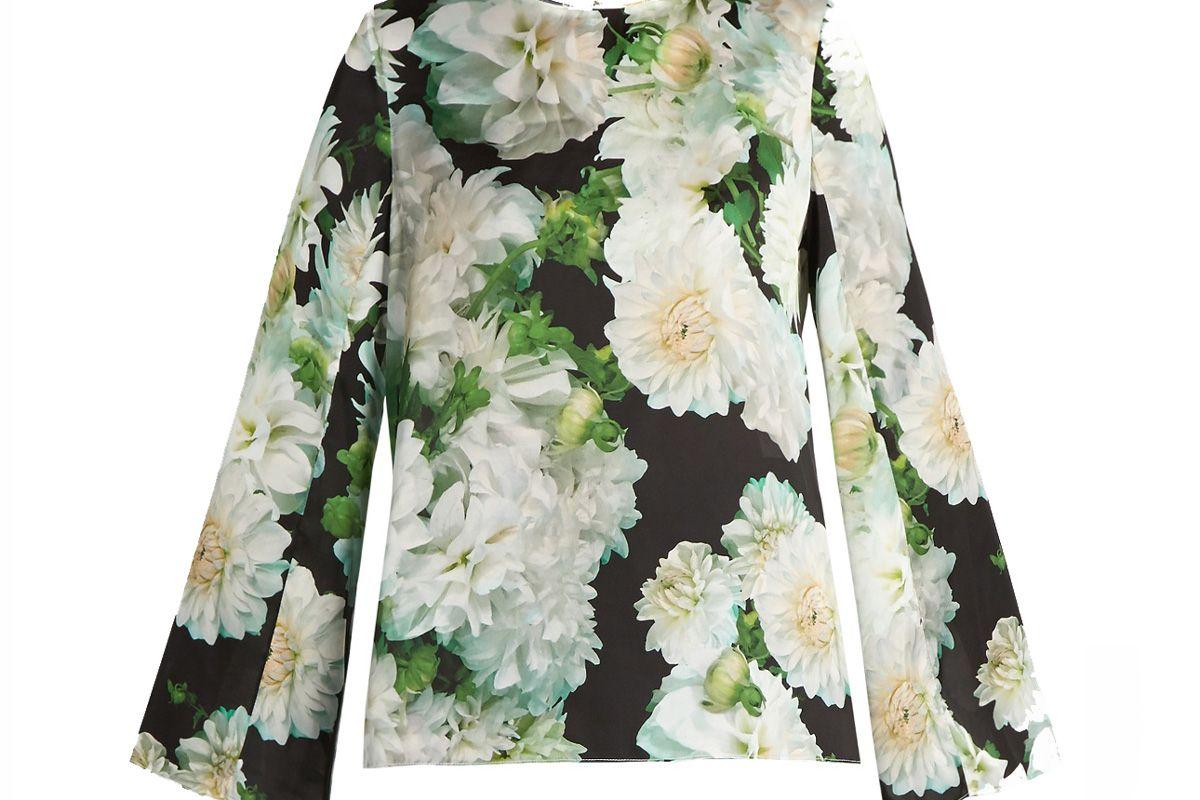Long-Sleeved Floral-Print Satin Top