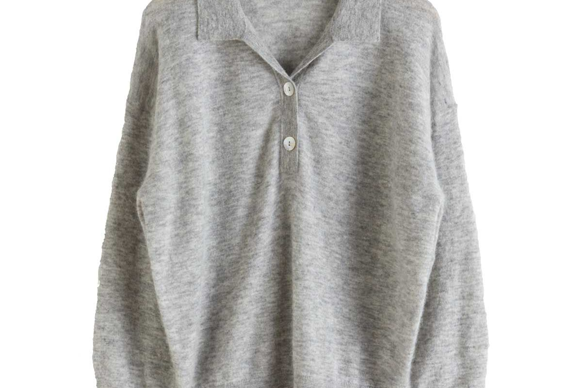 and other stories collared wool blend melange sweater