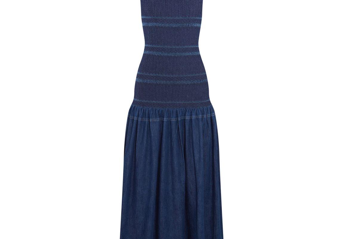 Ruffled Smocked Denim Maxi Dress