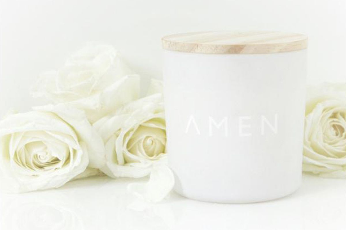 amen roses candle