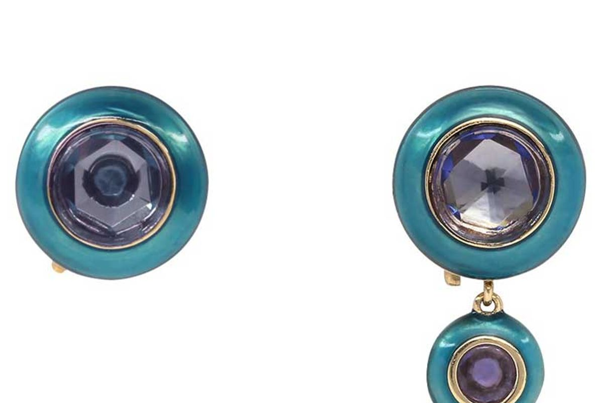 santo yellow gold hidden gem earrings with turquoise enamel and tanzanite