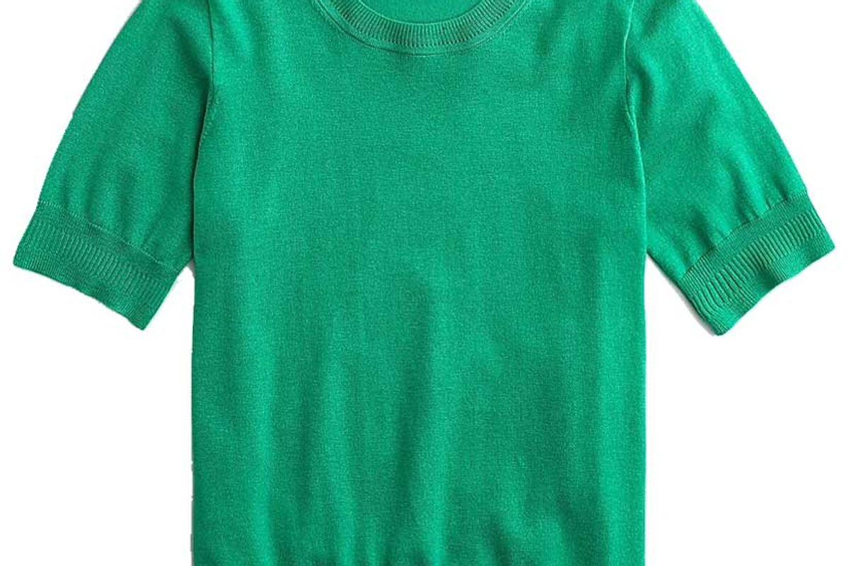 j crew short sleeve silk blend crewneck sweater