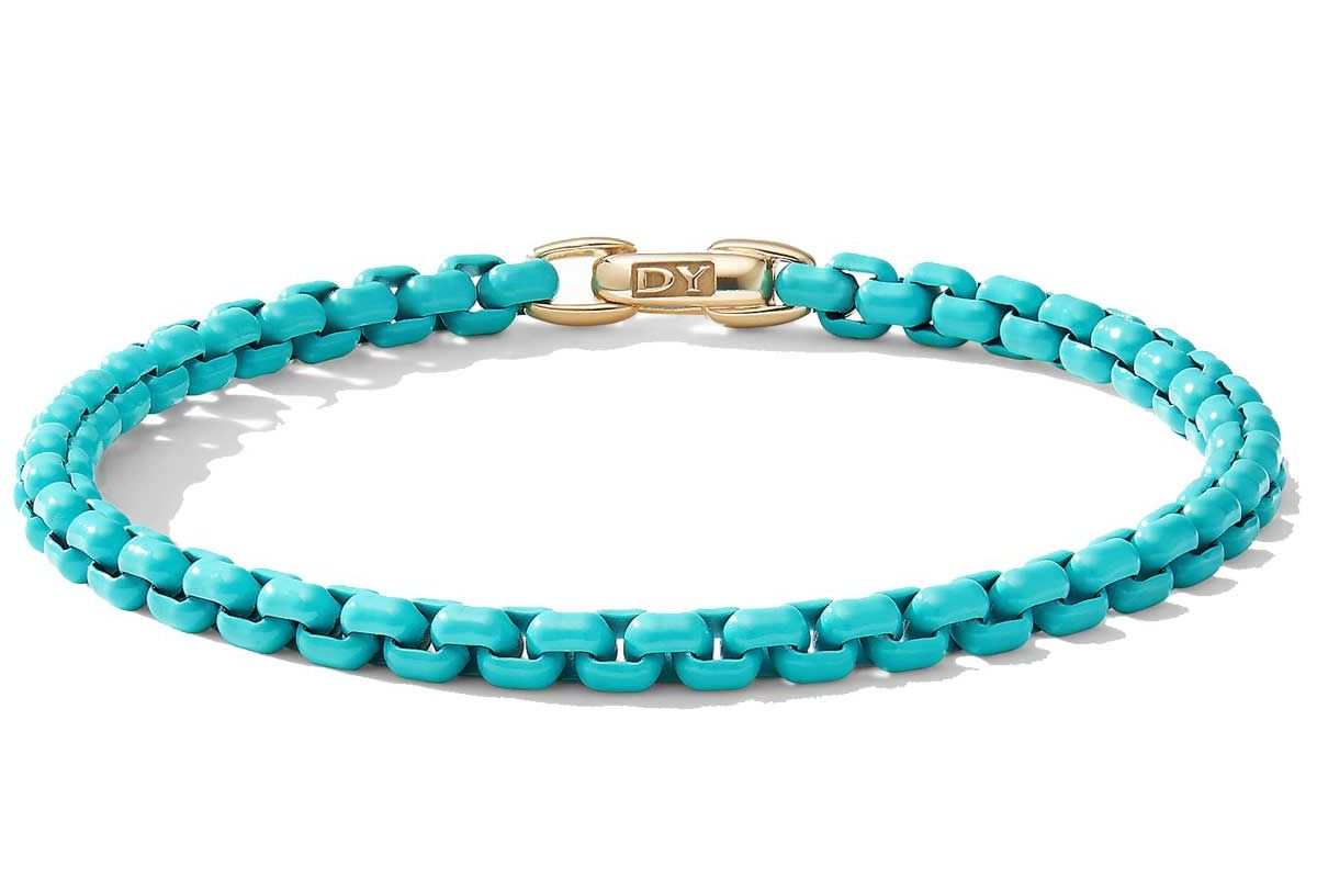 david yurman dy bel aire chain bracelet in turquoise with 14k yellow gold accent
