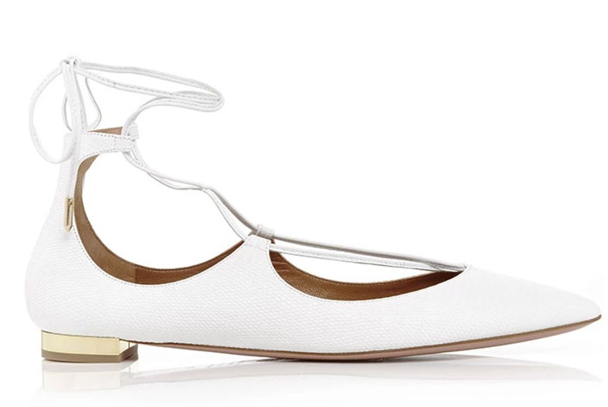 Christy Calf Leather Lace Up Flats