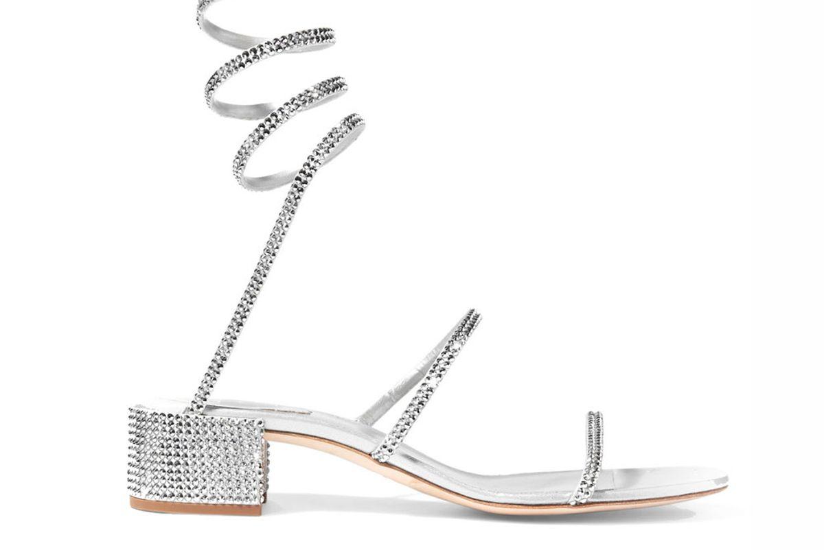 Crystal-Embellished Satin and Leather Sandals