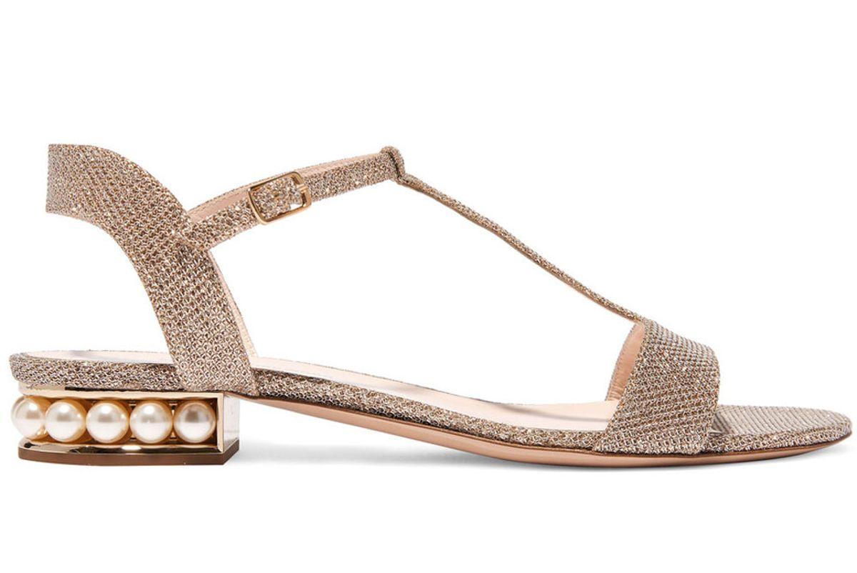 Embellished Textured-Lamé Sandals