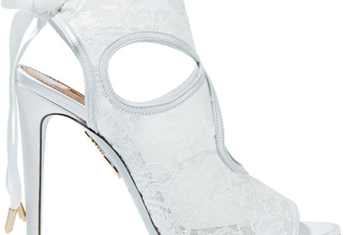 Sexy Thing Leather-Trimmed Cutout Lace Sandals