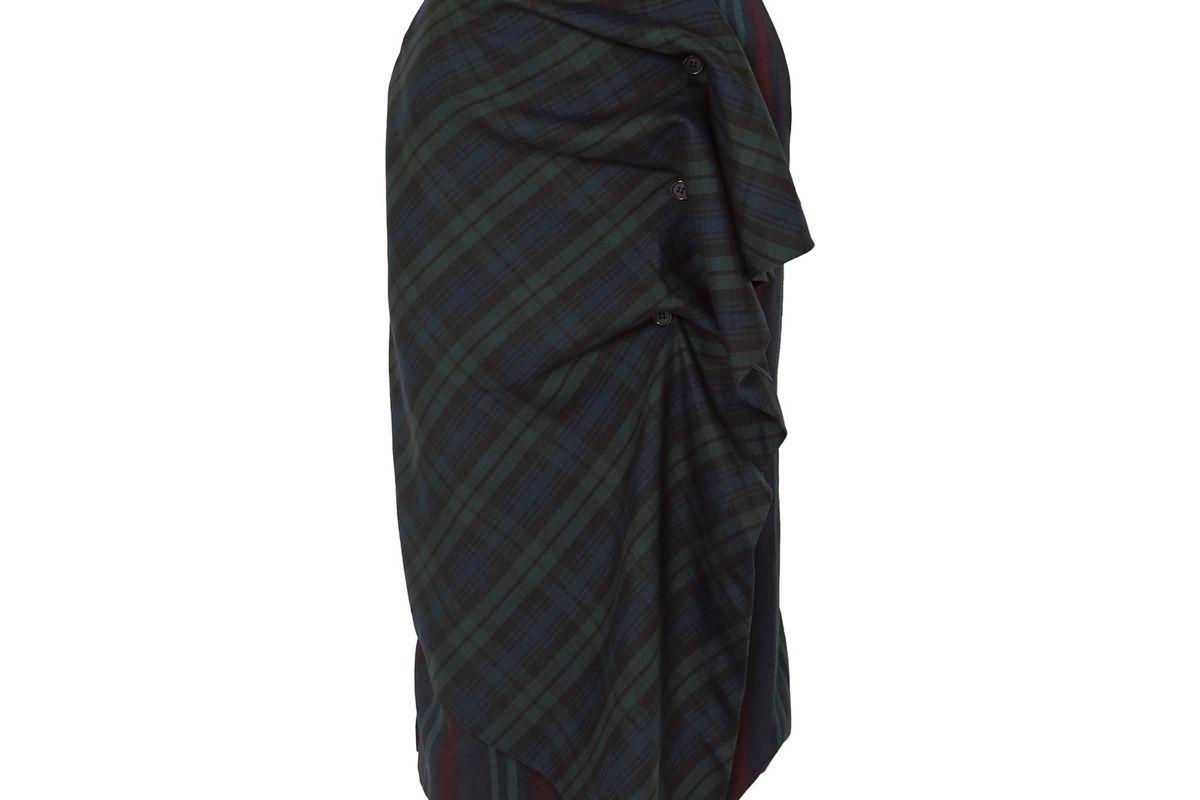 pushbutton ruffled paneled tartan and striped wool blend skirt