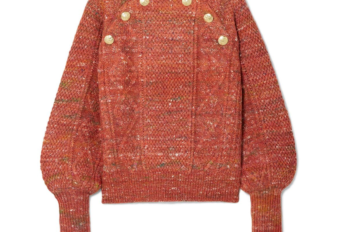 veronica beard adelaida button embellished cable knit sweater