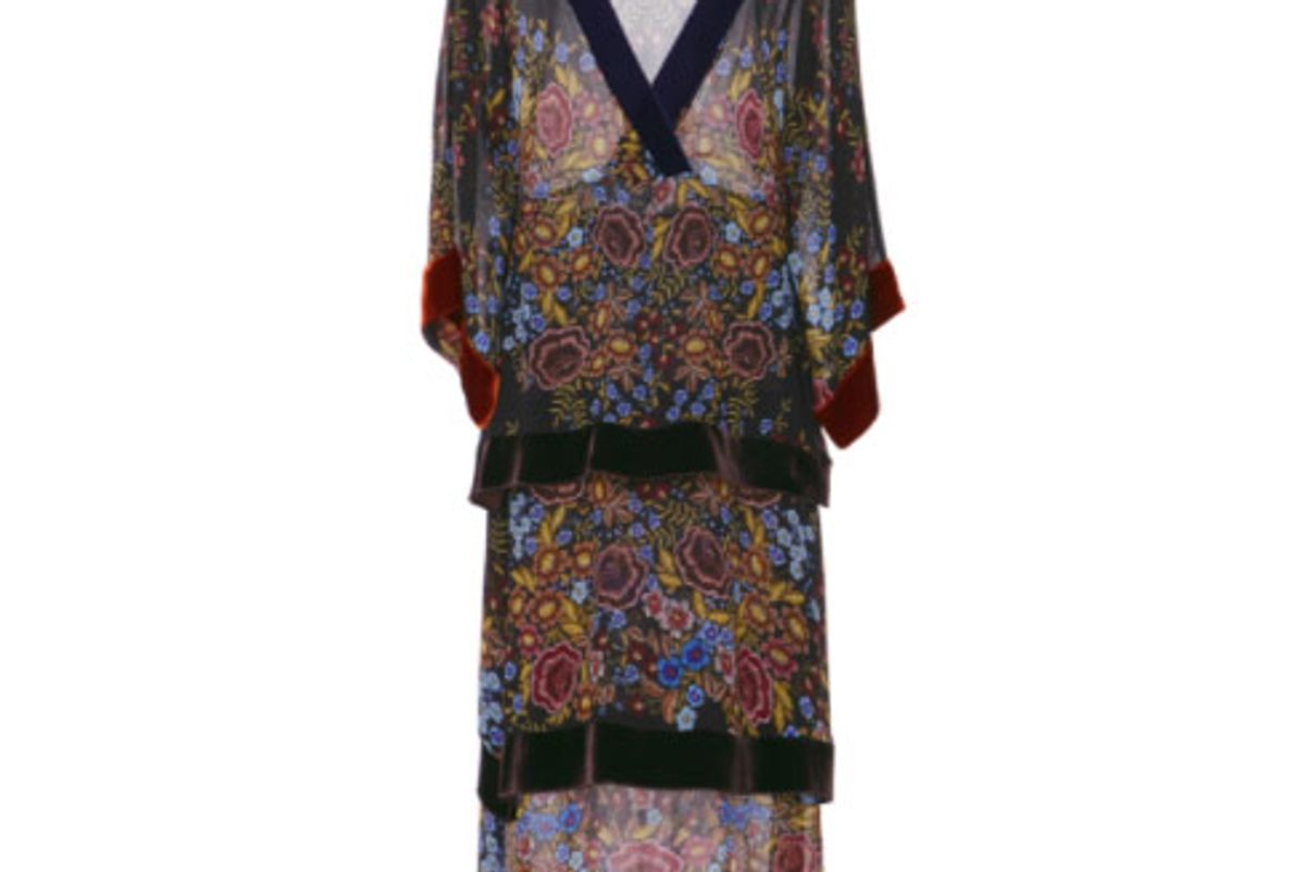Printed Velvet-Trimmed Printed Chiffon Dress