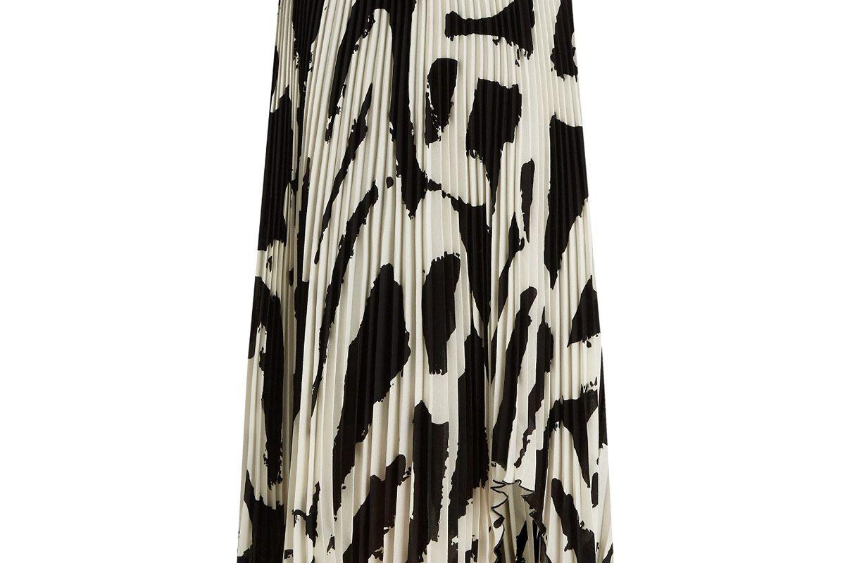 Graphic-Print Cut-Out Hem Pleated-Crepe Midi Skirt