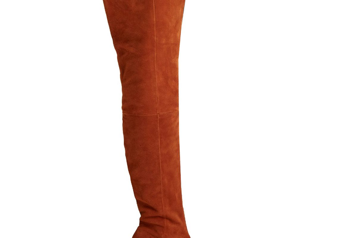 Thigh Suede and Leather Two-Tone Boots