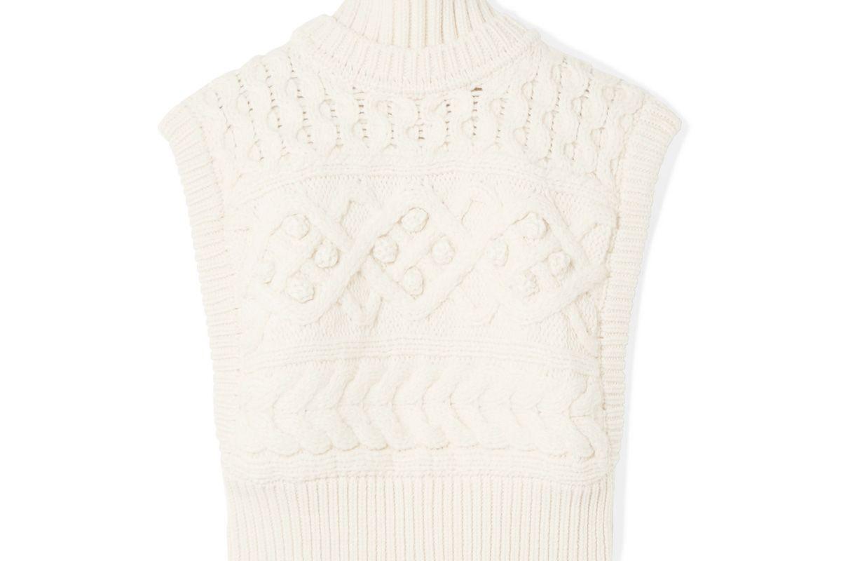 isabel marant minea oversized cable knit merino wool turtleneck sweater
