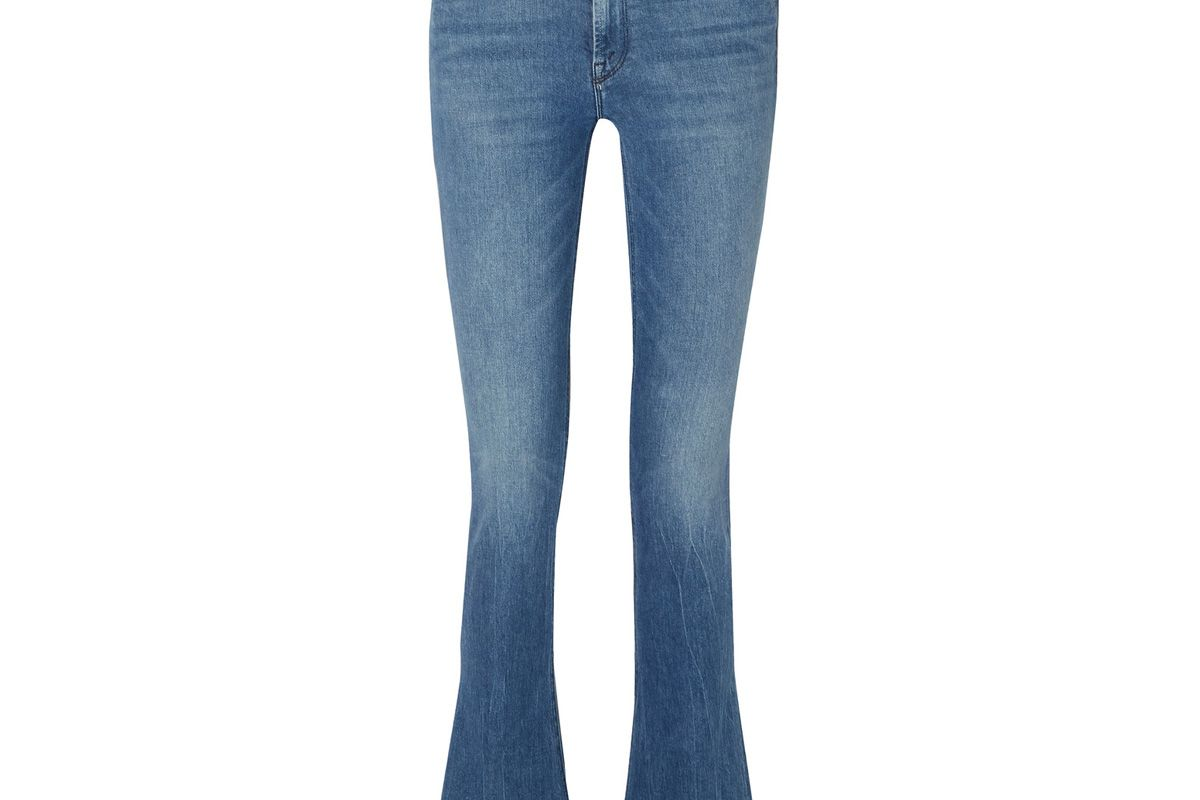 mother the runway frayed mid rise flared jeans