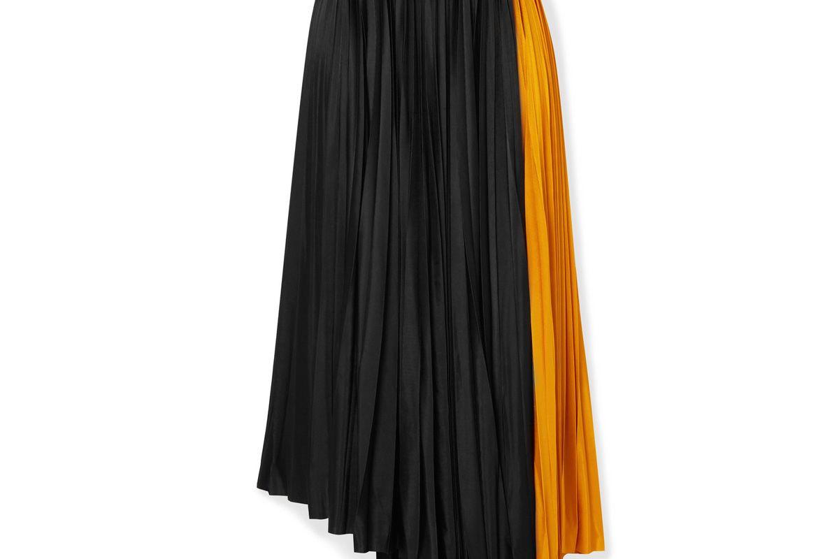 proenza schouler asymmetric two tone pleated jersey wrap skirt