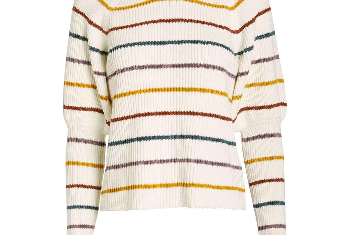 saylor keane puff sleeve striped sweater