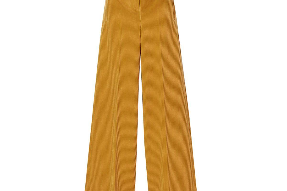 akris flore cotton and cashmere blend corduroy wide leg pants