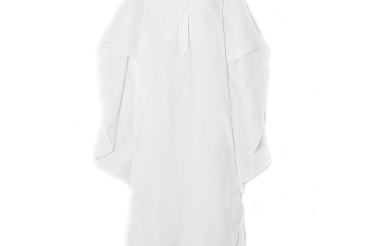 lanvin cape effect cotton poplin shirt dress