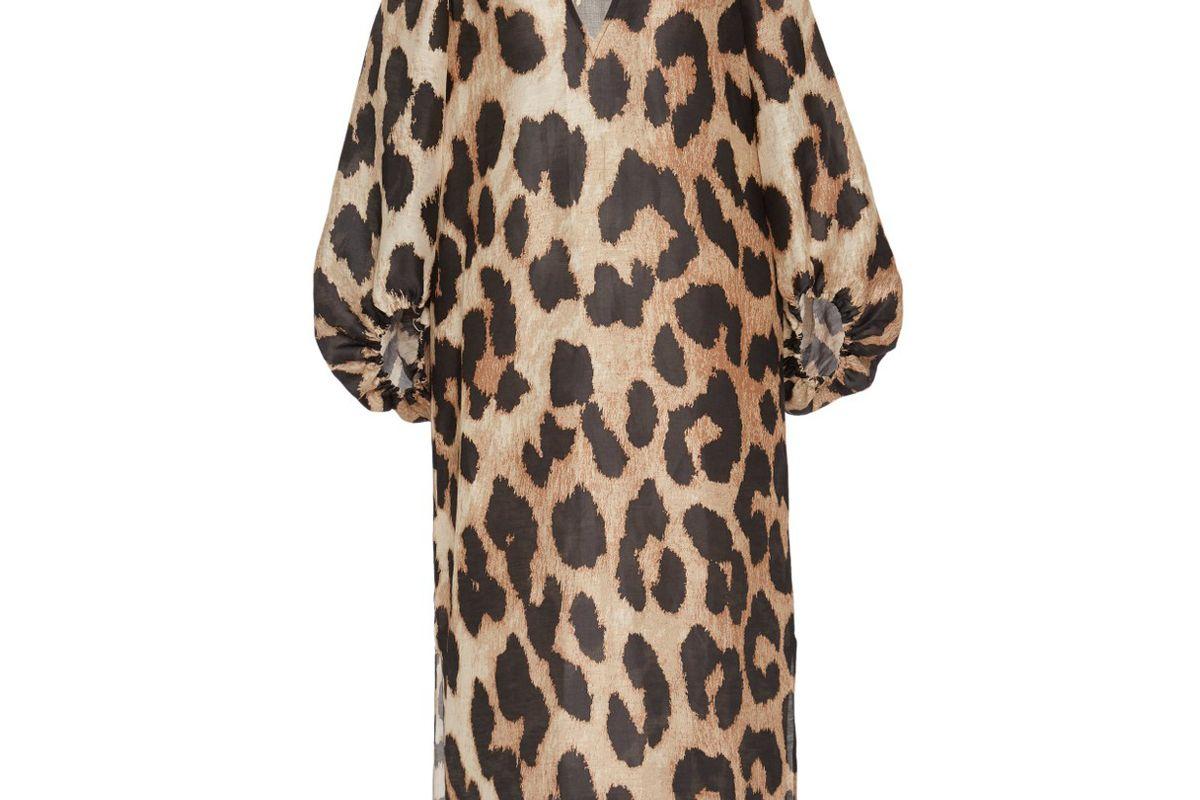 ganni leopard print linen silk blend midi dress