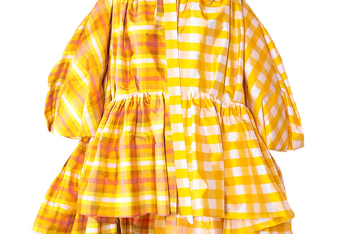 christopher john rogers pleated sleeve tiered mini short dress