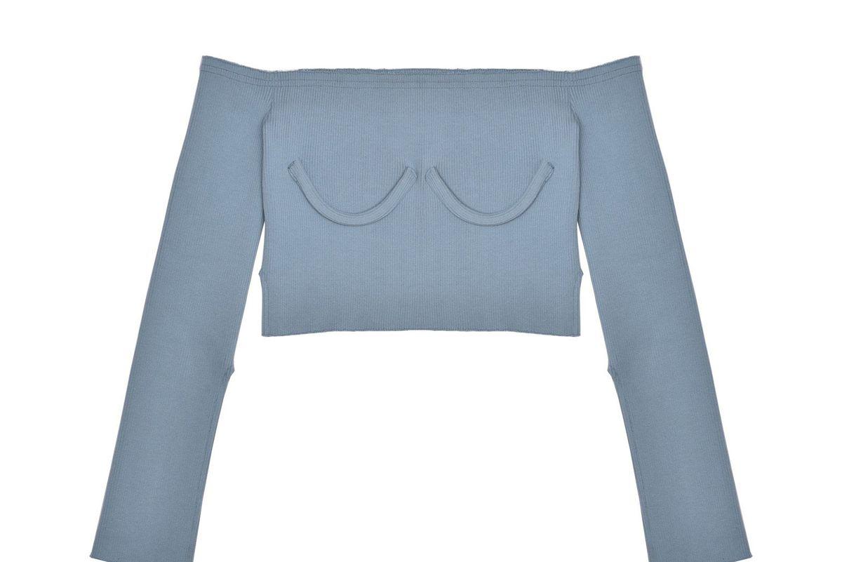 Off Shoulder Knit Blue