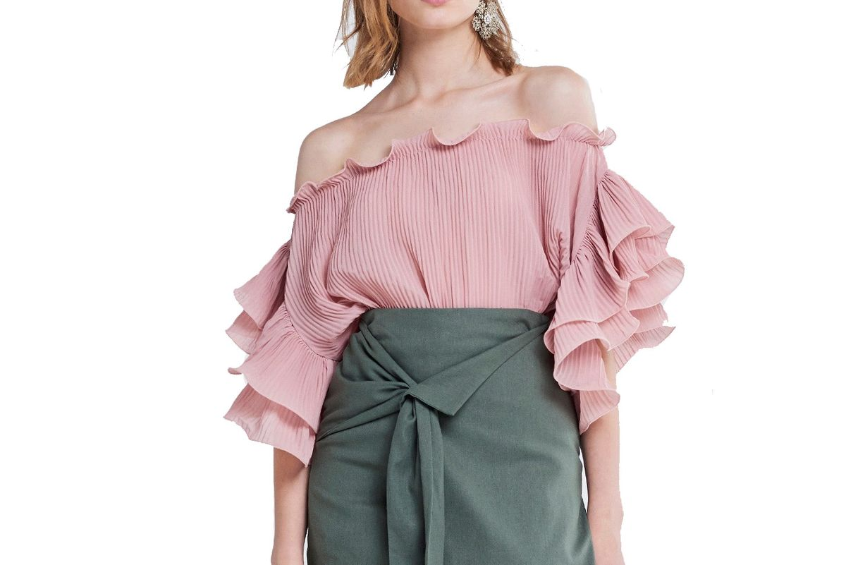 Sina Ruffle Sleeves Off-the-Shoulder Top