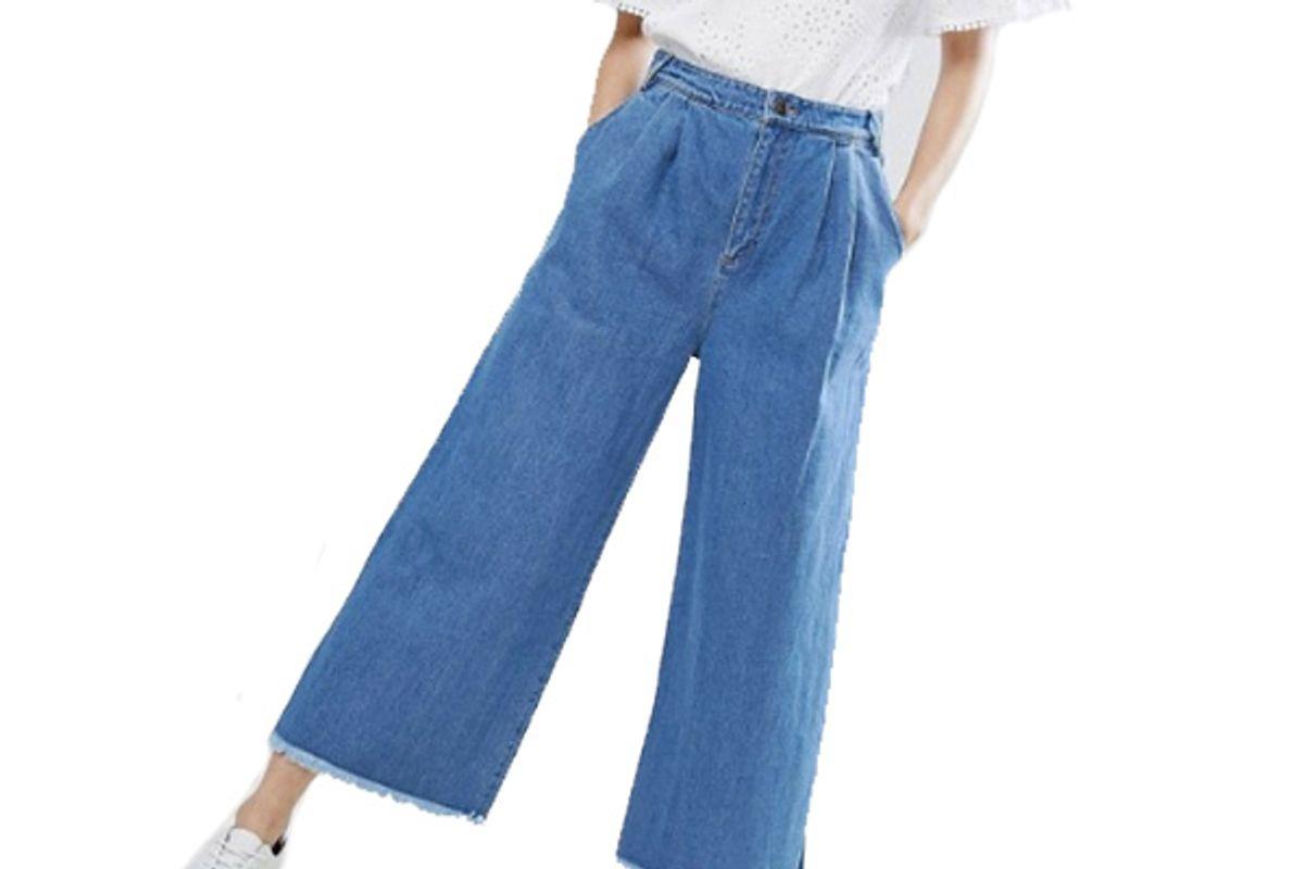 Wide Leg Jeans With Raw Hem