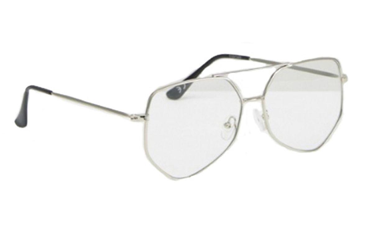 Geeky Angular Aviator Clear Lens Glasses
