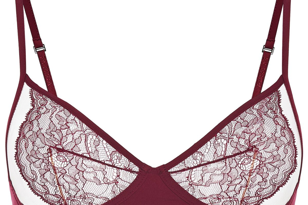 la perla bianca cranberry leavers lace non wired bra