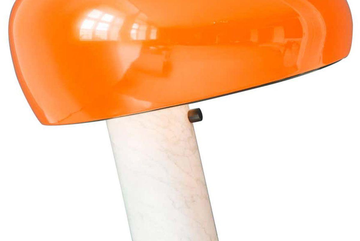 achille castiglioni and pier giacomo castiglioni contemporary italian flos snoopy table lamp with marble base and orange shade