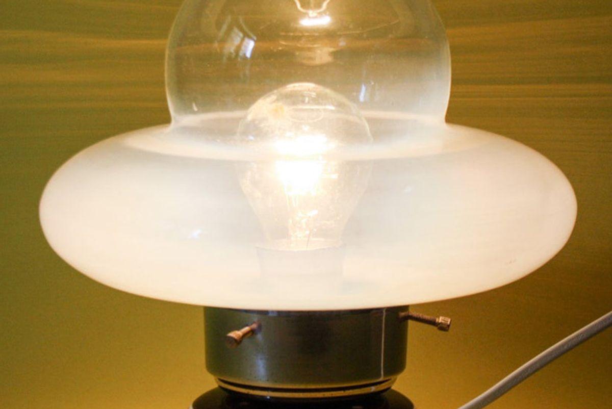 antikdesignit ufo table lamp in ceramic and glass chromed anni 70 vintage design space age mazzega murano english