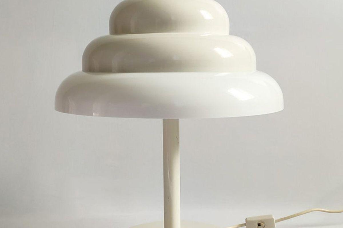 atmosferavintage extremely rare very large 60s italian reggiani table lamp space age mid century modern mushroom white lamp guzzini panton era