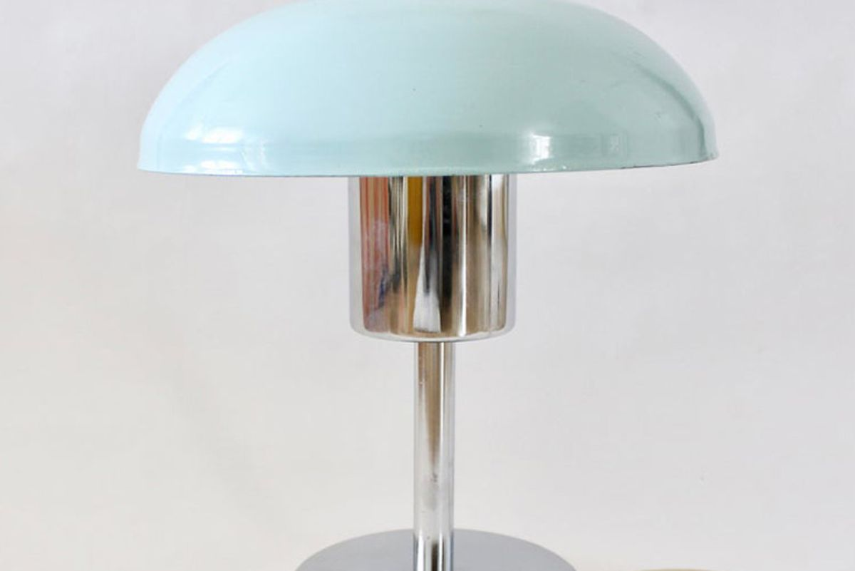 rustyanddustyvintage vintage table desk mushroom chrome lamp