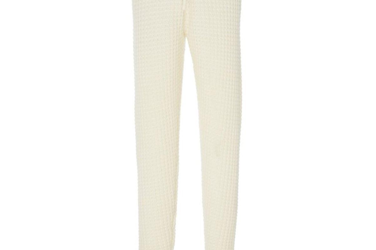 madeleine thompson oceanus waffle knit cashmere track pants