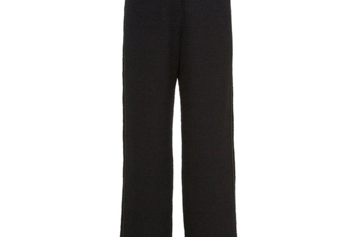 nanushka kyra frayed cotton blend straight leg pants