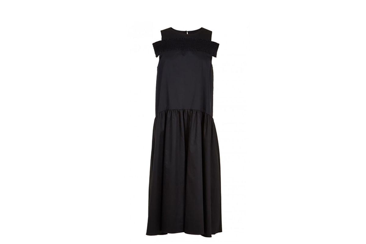 Satin Poplin Smocked Off-the-Shoulder Dress