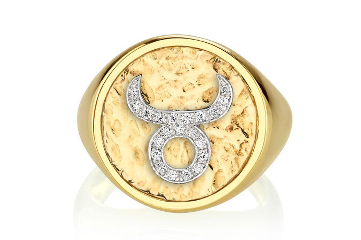 the last line diamond coin zodiac ring in taurus