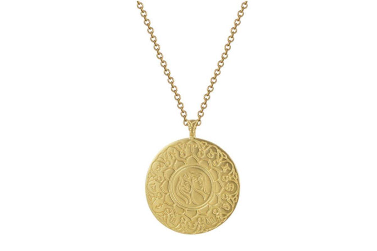 me and ro 18k gold large gemini astrology pendant