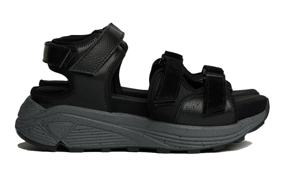 y's by yohji yamamoto thick soled velcro and leather sandals