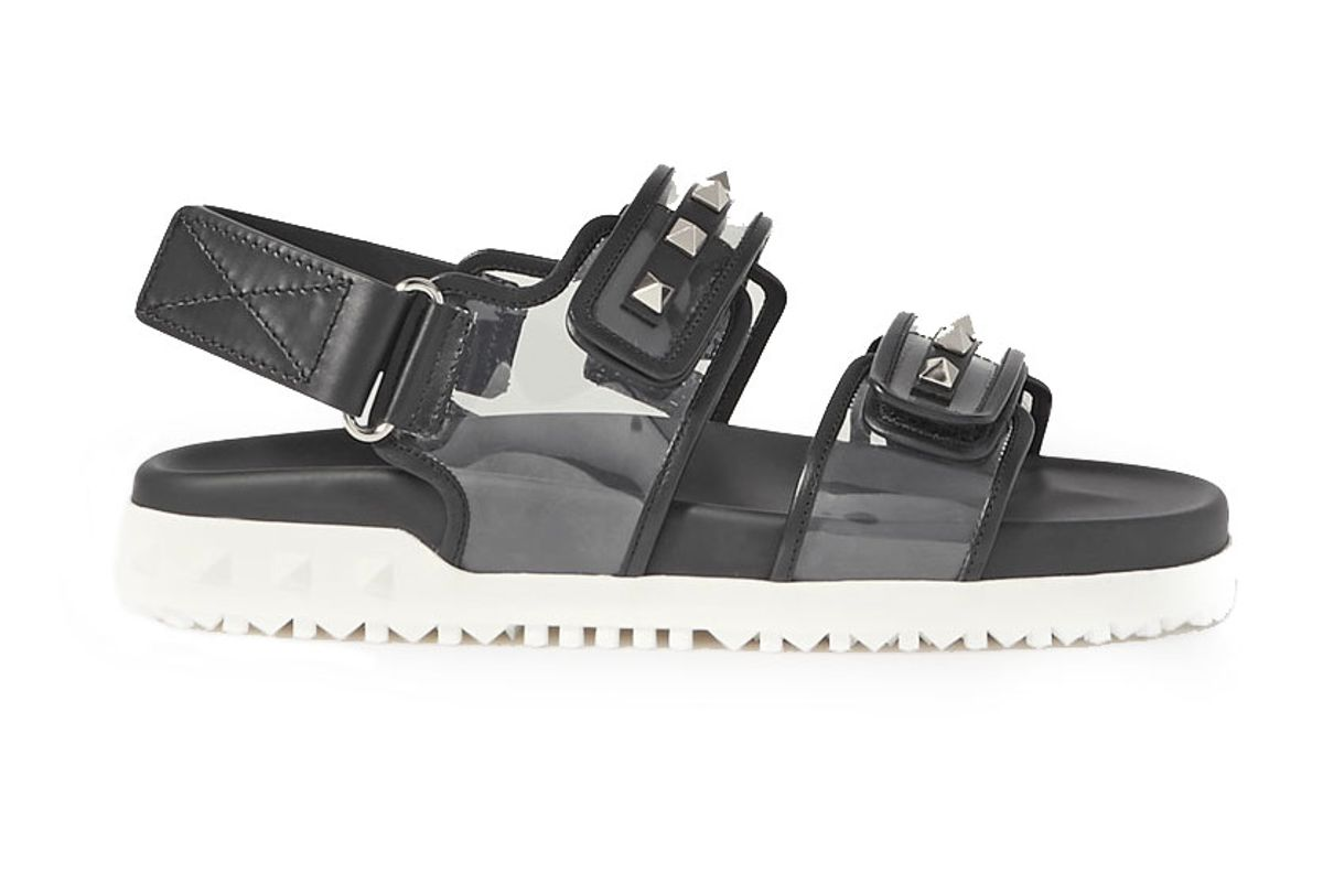 valentino rockstud leather and pvc sandals