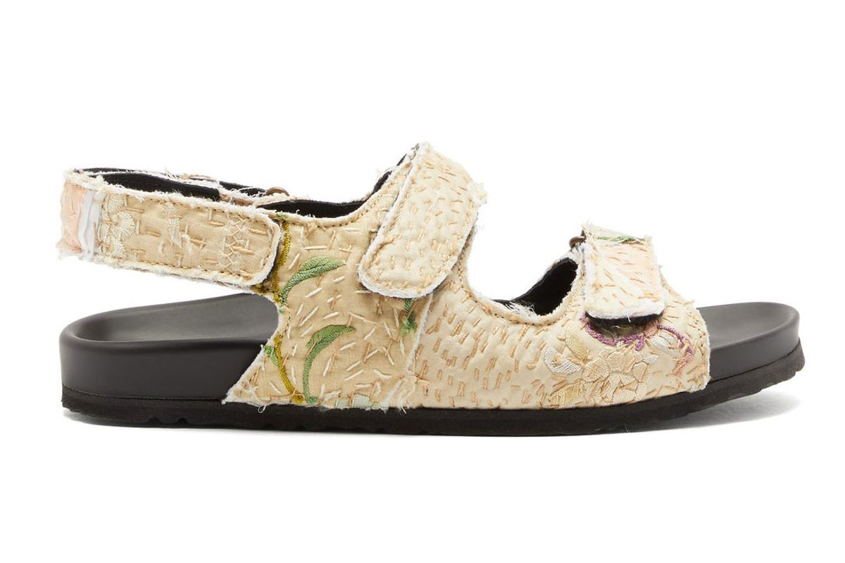 by walid felix velcro strap embroidered sandals
