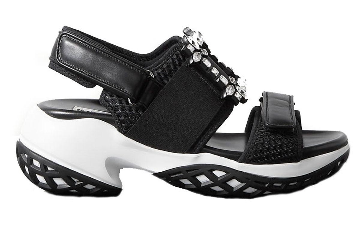 roger vivier viv run crystal embellished mesh and leather sandals
