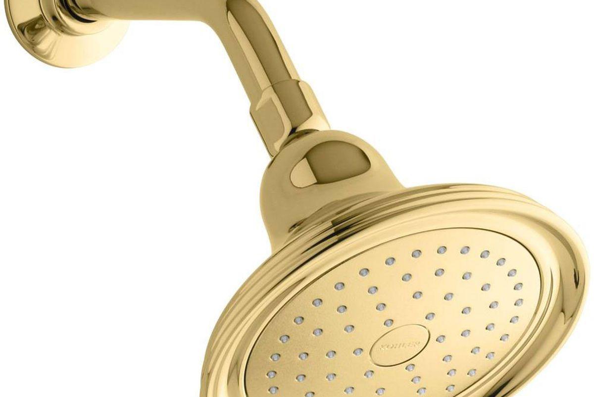 kohler devonshire 1 spray 5.9 in single wall mount fixed shower head in vibrant polished brass